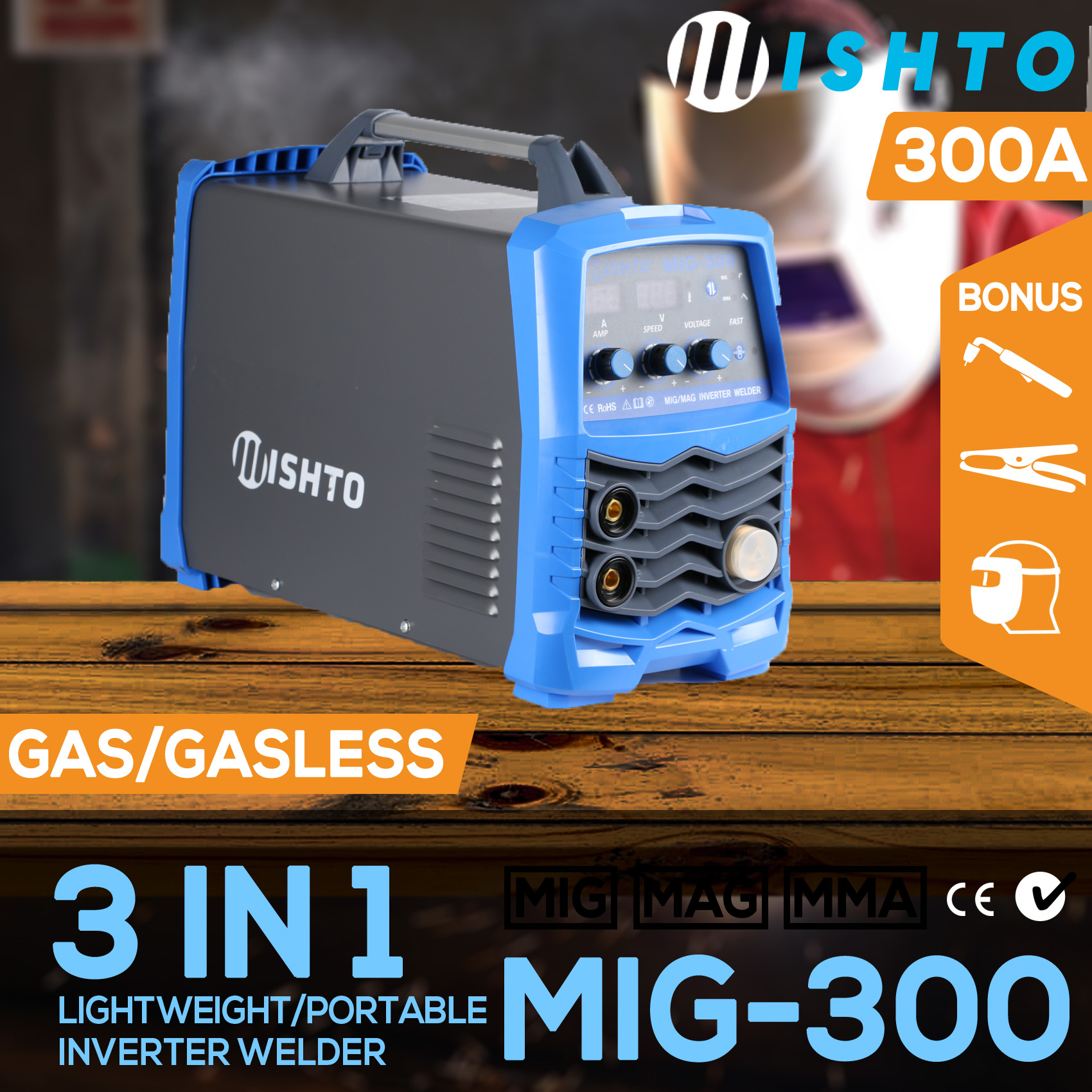 New 300 Amp Mig Arc Gas Gasless Portable Inverter Welder Welding Mode Schematic On Igbt Product Overview